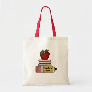 Apple, Books, Pencil Teachers Rock Canvas Bag