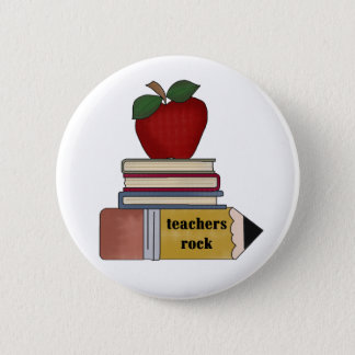 Apple, Books, Pencil Teachers Rock Button