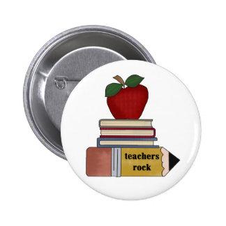 Apple, Books, Pencil Teachers Rock Button