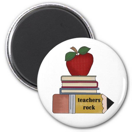 Apple, Books, Pencil Teachers Rock Magnet