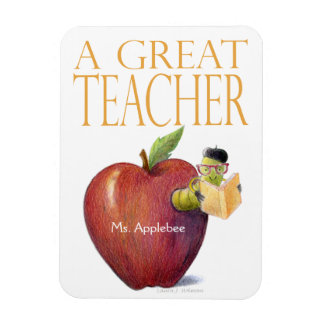 Apple Bookworm Customizable Magnet for Teacher