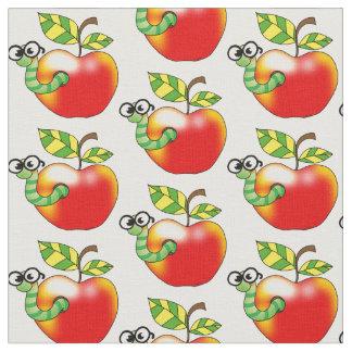 Apple & bookworm - school fabric