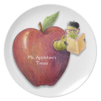 Apple Bookworm Teacher Customizable Gift Plate
