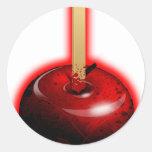 Apple brillante rojo - fruta prohibida etiqueta redonda