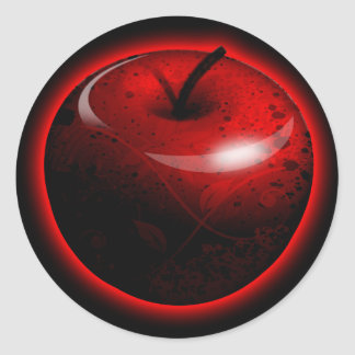 Apple brillante rojo - fruta prohibida pegatina redonda