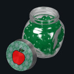 "Apple Candy Jar Teacher&#39;s Gift<br><div class=""desc"">A bright red apple decorates this candy jar. The design is from original art.</div>"