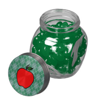 Apple Candy Jar Teacher's Gift Glass Candy Jar