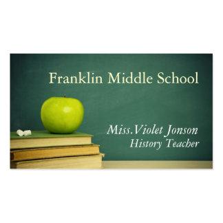 Apple Chalk Board School Teacher Double-Sided Standard Business Cards (Pack Of 100)