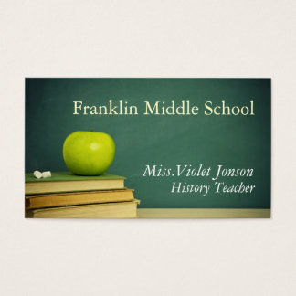 Apple Chalk Board School Teacher Business Card