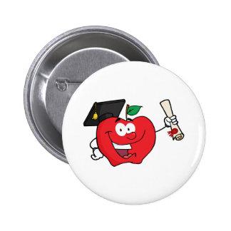 Apple Character  Graduate Holding A Diploma Pin