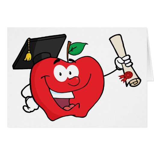 Apple Character  Graduate Holding A Diploma Greeting Card