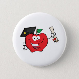 Apple Character  Graduate Holding A Diploma Pinback Button