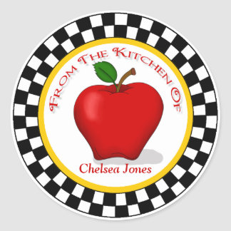 Apple & Checkerboard Kitchen Round Stickers