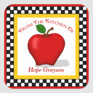 Apple & Checkerboard Kitchen Square Stickers
