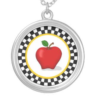Apple & Checkerboard Necklace