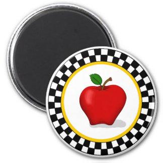 Apple & Checkerboard Round Magnet