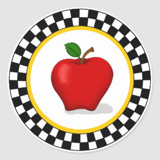 Apple & Checkerboard Round Stickers