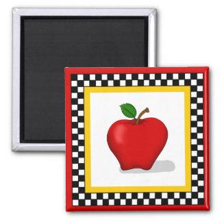 Apple & Checkerboard Square Magnet