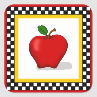 Apple & Checkerboard Square Stickers