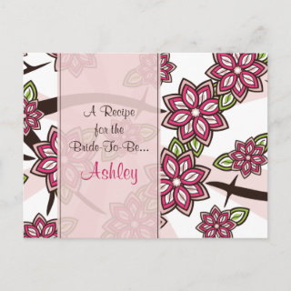 Apple Cherry Blossom Recipe Card for the Bride to Be
