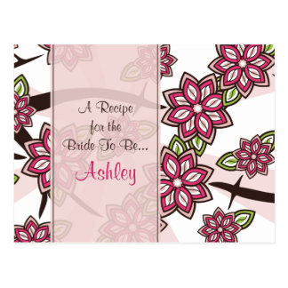 Apple Cherry Blossom Recipe Card for the Bride Post Card
