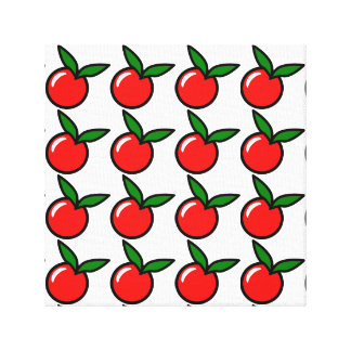 Apple Cherry Red Fruit Cartoon Canvas Print