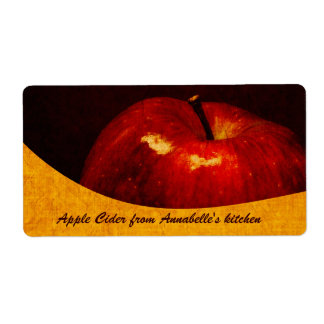 Apple cider - red apple food container label shipping label