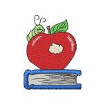 Apple con el gusano sudadera bordada con capucha