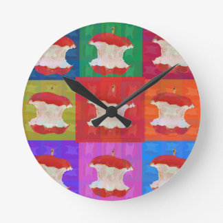 Apple Core Pop Art Round Clock