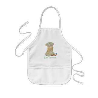 Apple core with funny maggot  in hat illustration kids' apron
