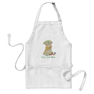 Apple core with funny maggot  in hat illustration apron