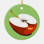 Apple corta el ornamento adorno navideño redondo de cerámica