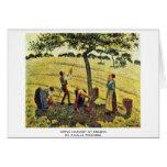 Apple cosecha en Eragny, por Camille Pissarro Felicitación