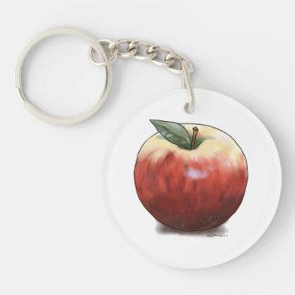 Apple crujiente llavero redondo acrílico a doble cara