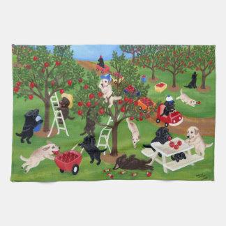 Apple cultiva la pintura de Labradors Toallas De Cocina