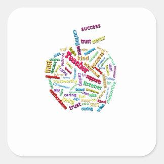 Apple Customize Add Teachers name on Apple Leaf Square Sticker