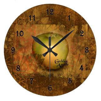 Apple de oro botánico reloj redondo grande