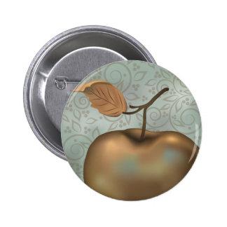 Apple de oro pin redondo de 2 pulgadas