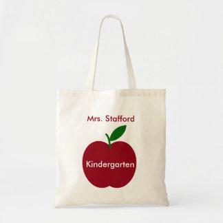 Apple del profesor rojo y verde personalizado bolsa tela barata