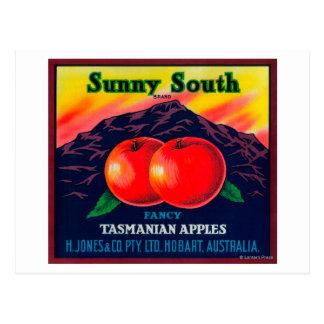 Apple del sur soleado LabelHobart, Australia Tarjetas Postales