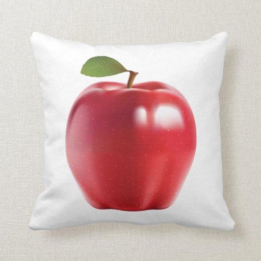 Apple delicioso jugoso rojo brillante almohadas