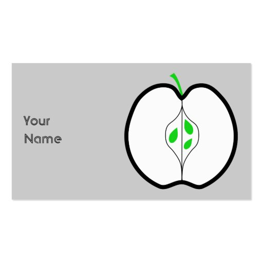 Apple Design in Green, Black and White. Business Card Template