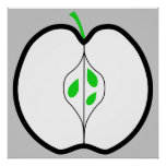 Apple Design in Green, Black and White. Print