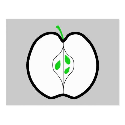 Apple diseña en el verde, blanco y negro. postales