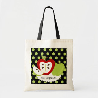 Apple Dots Personalized Teacher Tote Bag
