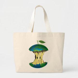 apple earth large tote bag