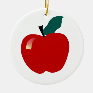 Apple, Educational Double-Sided Ceramic Round Christmas Ornament