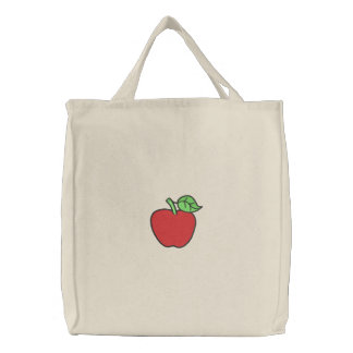 Apple Embroidered Tote Bag
