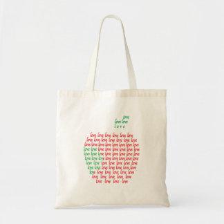 Apple en amor presupuesta el tote bolsa tela barata