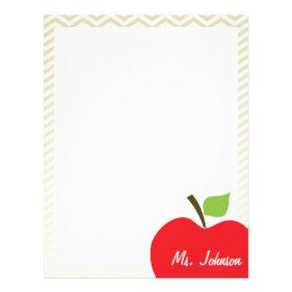 Apple en Chevron beige; zigzag Membrete Personalizado
